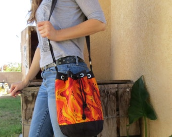 Red & Orange Bucket Bag with Black Accents