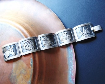 Vintage Taxco Sterling Silver Bracelet Mexican 5 Hinged Panel Story Dámaso Gallegos Burro Rancho Sleeping Man Olla Maguey Mexico Jewelry