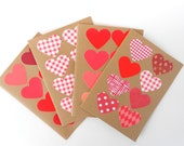 Red Hearts Blank Note Card