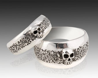 Silver Skull Wedding Ring Set, Solid Sterling Silver Wedding Ring Set