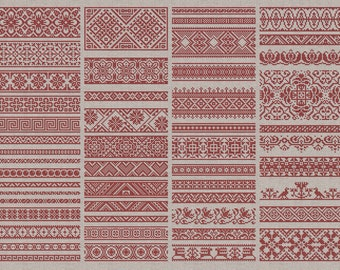 Decorative Borders - 50 Original Cross-Stitch Designs - Instant Download PDF Embroidery Pattern