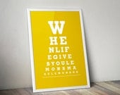 "Home Decor Wall Art ""When Life Gives You Lemons Make Lemonade"" Eye Exam Chart Print"