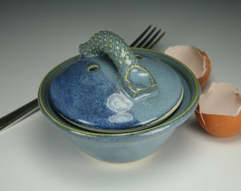 Egg Cup Microwave Egg Poacher Blue Glaze egg cooker lead free other colors available too