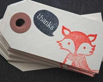 Fox Handstamped Gift Tags - Set of 10- Thanks // Red-Orange