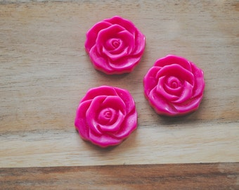 SALE -  Large Cabochon Resin Flower Charm / Pendant - Set of 3- Neon/ Dark Pink