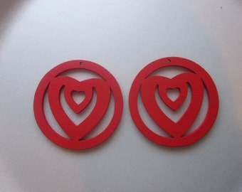 SALE - Red Wood Heart Pendants 48mm 2 Pendants