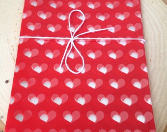 24 5x8  Red Valentine Heart Cello Bag, Valentine Candy Bag, Classroom Treats, Treat Bags, DIY  Party Favor, Goodie Bags, Hearts