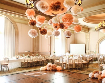 100 Wedding Pom Poms, Peach and Cream Wedding, Tissue Paper Pom Poms, Peach Wedding Decorations, Dance Floor Decor, Baby Shower Decor
