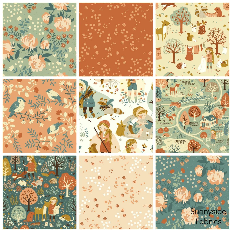 Acorn Trail Fat Quarter Bundle 9 Prints Girl Woodland Fabrics