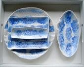 Blue White Ceramic Serving Set, Bowl, Plattter, Serving dish set, Dinnerware, Appetizer serving,Wedding gift, cobalt blue, housewarming gift