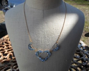 Vintage Light Blue Rhinestone Necklace 1940s to 1950s Sterling Silver Gold Tone Dainty Sparkly