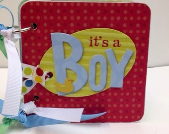 Baby Boy premade chipboard mini scrapbook album- blue baby scrapbook 4x4