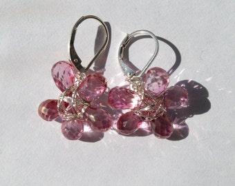 Pink Topaz Flower Earrings, Silver Earrings, Lilyb444, Etsy jewelry,