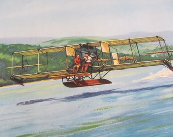 Vintage Early Century Airplane Poster Print - Charles Hubbell - The Curtiss Hydro 1911