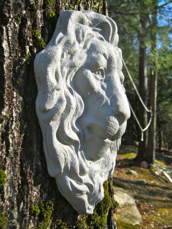 Lion Face Hanging Plaque, Concrete Garden Decor, Garden Faces, Garden  Decor, Lion Decor, Concrete Lion, Cement Lion, Hanging Lion Face, Art