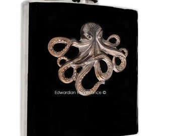 Steampunk Flask Oxidized Octopus Inlaid in Hand Painted Black Enamel Release the Kraken Cutom Colors and Personalized Options Available