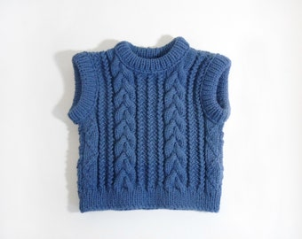 Knitted Baby Vest - Blue, 3T