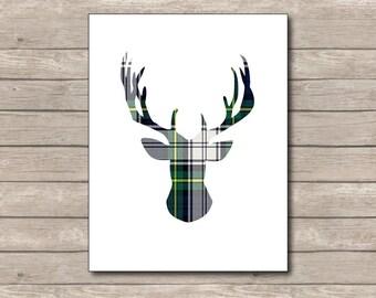 Green Navy Blue Plaid Christmas Printable, Christmas Art Print, Green Blue Deer, Reindeer Art 3