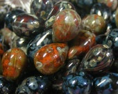 Picasso Mix Czech Glass Teardrops Beads . 9mm . picasso . black clay moss 25 each (bk013)