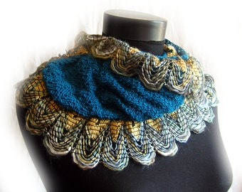 """KNITTED PASTTERN: Curly Ruffle """"Double Biscuits"""" Wrap, Scarf - Original Design, Cha Cha Cha Yarn, Feathery Color.  the PATTERN!"""