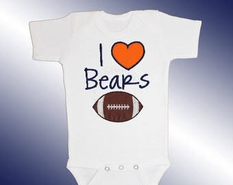 Baby Bodysuit Jersey Shirt - I Love Bears Football Applique - Embroidered Short or Long Sleeved - Free Shipping