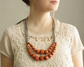 Color Pop Necklace in Hazelnut & Grey . Non-toxic Beads with a Jersey Tie . Fashionable and baby-friendly