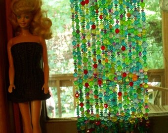 "1:6 scale  barbie bead curtain in ""coral reef"" colors"