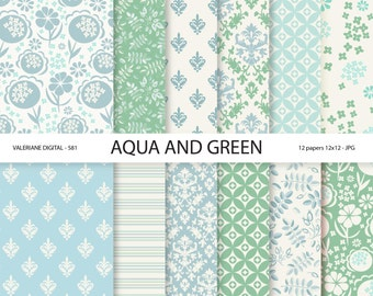 Digital Paper blue scrapbook papers, floral and damask digital backgrounds,  12 jpg files 12x12 -  Pack 581
