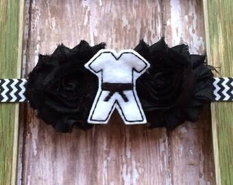 Karate-Martial Arts-Black Belt Double Flower Chevron Elastic Headband Babies Toddlers, Girls