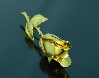 Vintage Gold Tone Rose Bud Brooch Pin