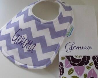 Monogrammed CHEVRON Baby Bib and Burp Cloth Set