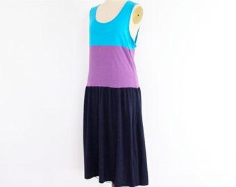80s Gitano Dress, Striped Jersey T-Shirt Midi Sundress, tiered navy blue, plum purple, cerulean blue pop color block New Wave beach cover