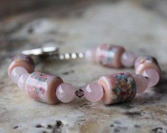 pink lampwork rose quartz and swarovski crystal bracelet