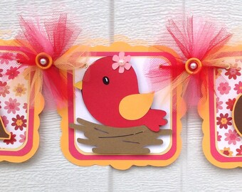 Bird baby shower, bird banner, its a girl banner, orange and pink, girl baby shower, baby girl banner, nursery decor, table banner