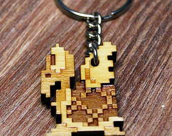 Mario Bros 8bit Para Troopa wood keyring OR charm accessory
