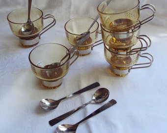 Vintage French 6 Piece Glass Teacups with Spoons and Holders Yellow Glass Inox Art Deco Kitsch Time for Tea