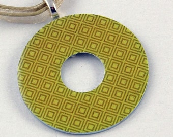 Handmade Upcycled Washer Necklace - Chartreuse Diamonds