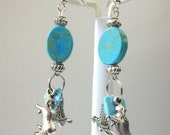 Cowboy Boot Earrings Western Bull Cowgirl Bling Turquoise Blue Silver Long Dangles