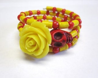 Day Of The Dead Bracelet Sugar Skull Wrap Cuff Red Yellow Rose
