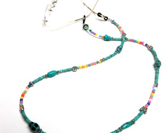 Eyeglass Lanyard Necklace Day Of The Dead Sugar Skull Turquoise Blue Pink Green Yellow Silver