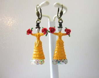 Frida Kahlo Earrings Yellow Dress Day of the Dead Jewelry Red Roses