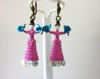Frida Kahlo Earrings Pink Dress Day of the Dead Jewelry Blue Roses