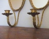 Pair (2) Gold Oval Mirrored Wall Sconces with Candle Holders