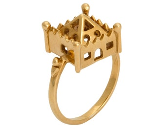 hoyz castle gold plated statement house ring inspired by antique jewish wedding rings - Jewish Wedding Rings