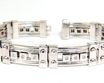 69.3 Grams Mens 1.40CT Sliding Diamonds Durable Heavy Bracelet
