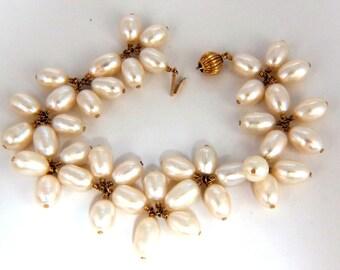 10mm natural freshwater pearls cluster linked bracelet 14kt
