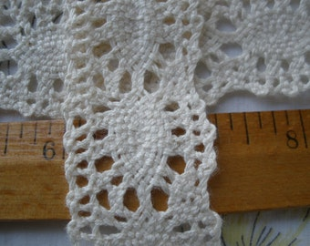 """Antique White Cotton Cluny Lace trim 1 1/4"""" wide 32mm scalloped edge crochet look retro choose yards yardage"""
