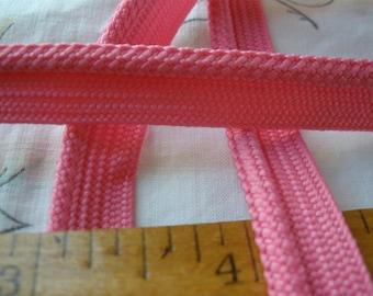 "Strawberry Pink Braided Piping Trim Lip Cord 1/4"" bias tape 3/16"" Lip Edging Quilts Pillows choose yardage embellish bubble gum pink soft"