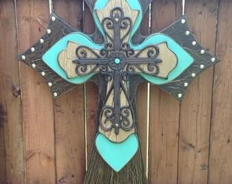 Turquoise Wall Cross Western Brown Wood Wall Cross