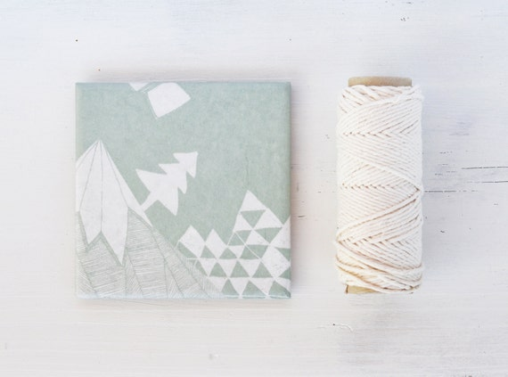 Coasters Winter Wonderland Mint Green Geometric White Pastel Mountain Christmas Gift , set of 4